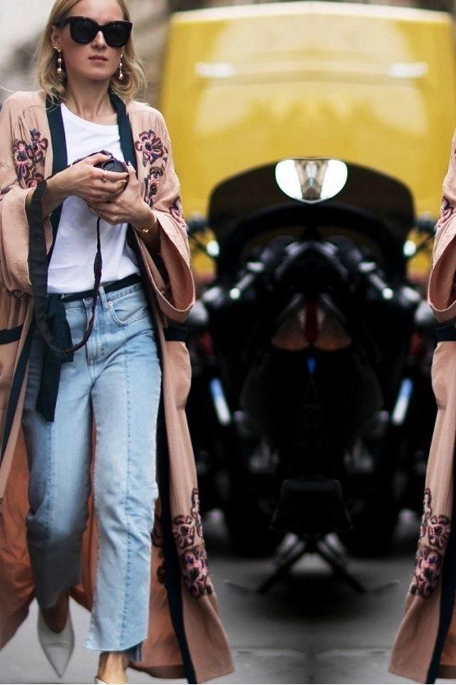 silk robe coat over jeans