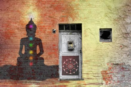Picture showing old Ayurveda culture where is a silhouette of a man with activating 7 chakras.