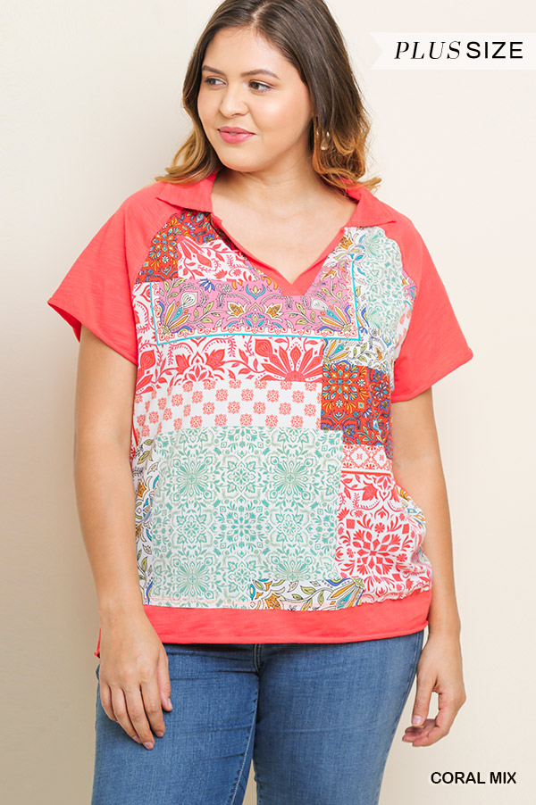 47554eb22d5 Umgee Short Sleeve V Neck Collard Top with Scarf Print in 2 Colors ...