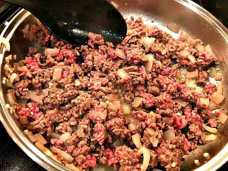 lean ground beef on a skillet