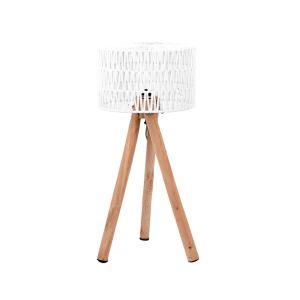 Tafellamp Stripe Wit Katoen Naturel Mangohout 32x32x69 cm Vooraanzicht 1