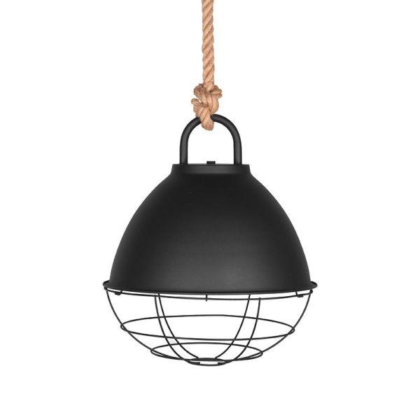 hanglamp korf zwart metaal touw 38x38x41 cm voorkant