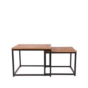 salontafel set couple zwart metaal rough mangohout 60x60x45 50x50x40 cm voorkant 2 1