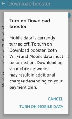 How to turn on Download Booster on Galaxy S7 Edge