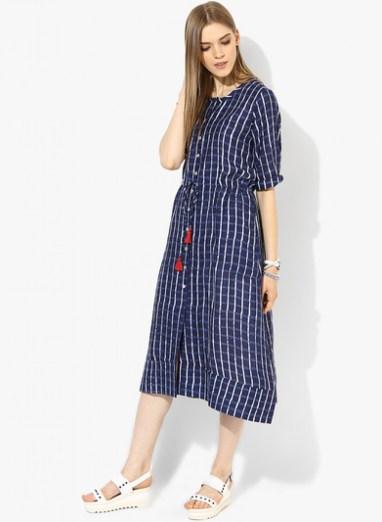 global-desi-navy-blue-coloured-checked-maxi-dress