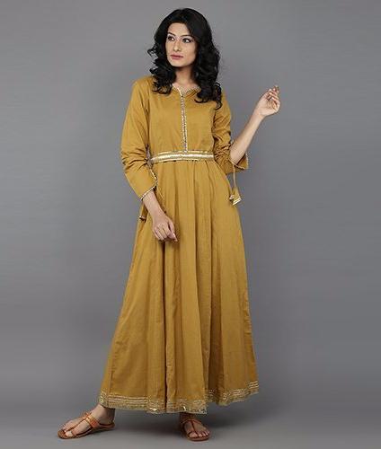 Mustard-Cotton-Anarkali-Dress