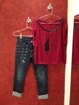 Trendy Store_Blusa com detalhe em couro e jeans destroyed