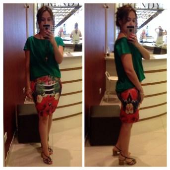 Trendy Store_Blusa verde e saia estampada