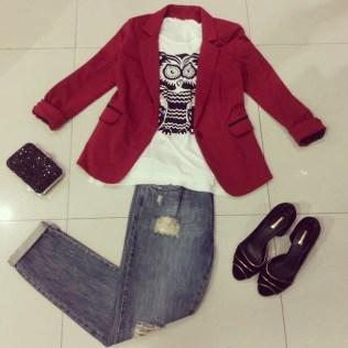 Trendy Store_Blazer + t-shirt + jeans boyfriend