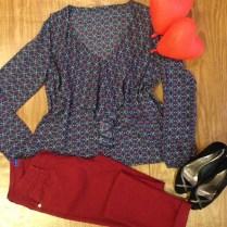 Trendy Store_Bata estampada e skinny bordô