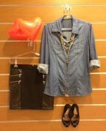 Trendy Store_Camisa jeans e saia de couro ecológico