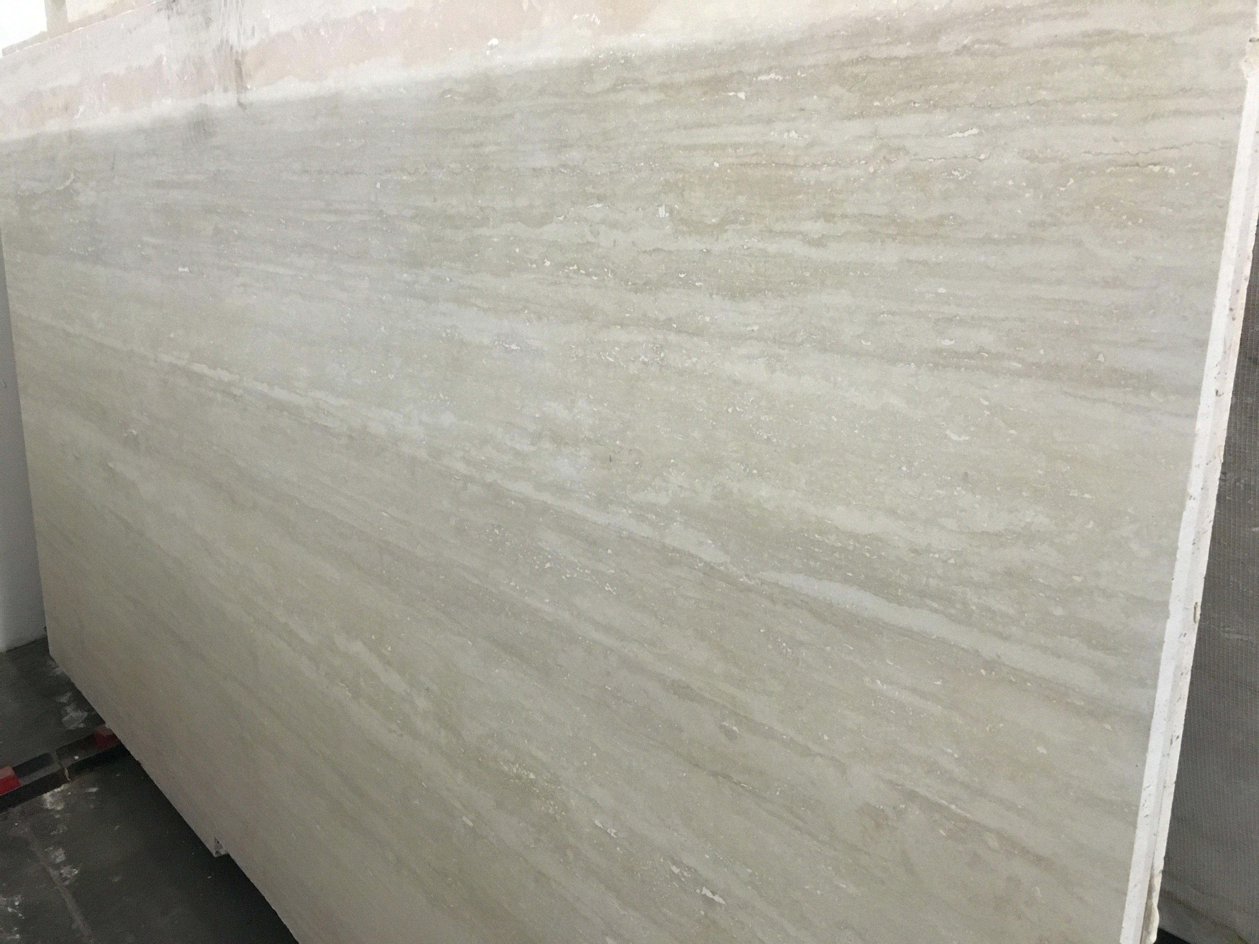 Ivory Vein Cut Honed Travertine Slab Trendy Surfaces