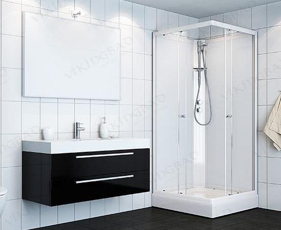 VikingBad dusjkabinett Kiev 90x90x190 - Hvite profiler, hvitt glass