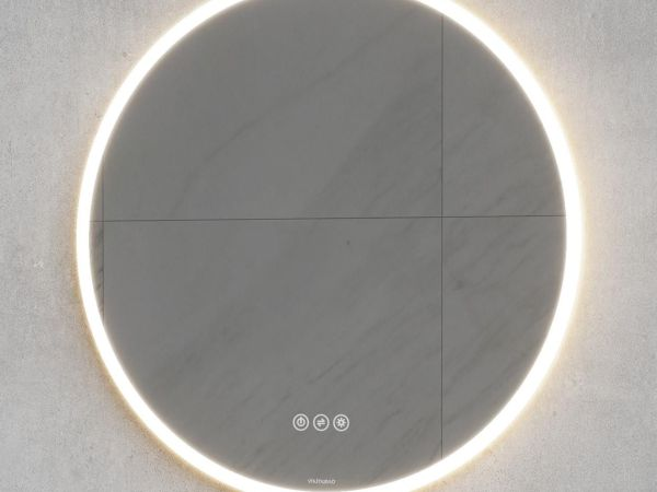 VikingBad Oda Rundt speil med lys - 60cm