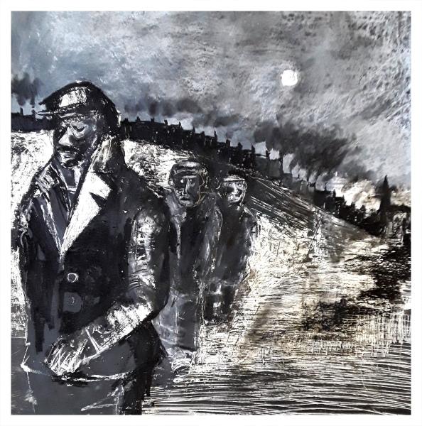 Pearsall, Ian R. (1967 – ) Early start (under moonlight across the snow) - Trent Art