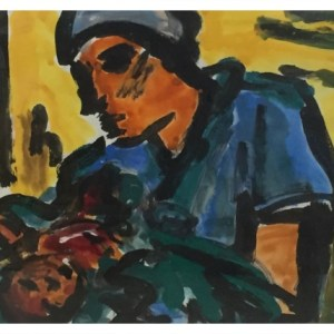 Howard, Ghislaine (1953 – ) Midwife with New Child
