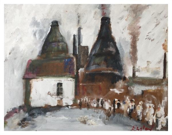 England, Frederick J NDD ATC (London) MFPS (1939 – ) Morning Shift, Daffodil Pottery - Trent Art