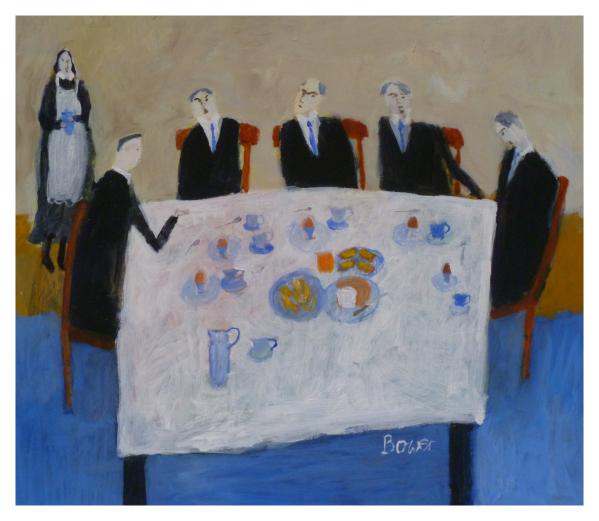 Bower, Susan RBA ROI (1953 - ) Working Breakfast - Trent Art