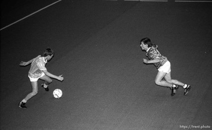 Action at an indoor soccer tournament.