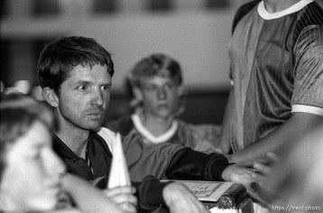 Chris Priddis, coach at an indoor soccer tournament.
