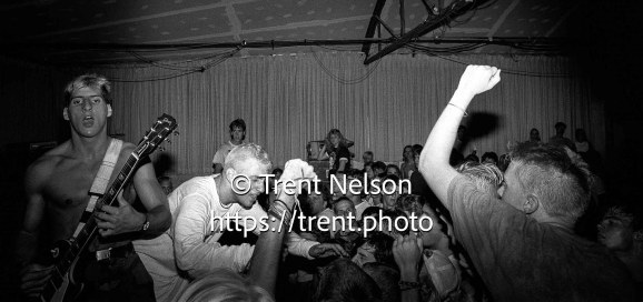Youth of Today, with singer Ray Cappo (center left) and guitarist John Porcelly (left), perform at the punk club Speedway Cafe in Salt Lake City, Utah, July 24, 1988.