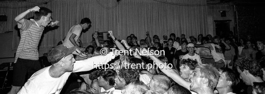 Youth of Today, with singer Ray Cappo, perform at the punk club Speedway Cafe in Salt Lake City, Utah, July 24, 1988.