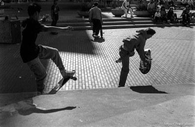 Skateboarders in Justin Herman Plaza.