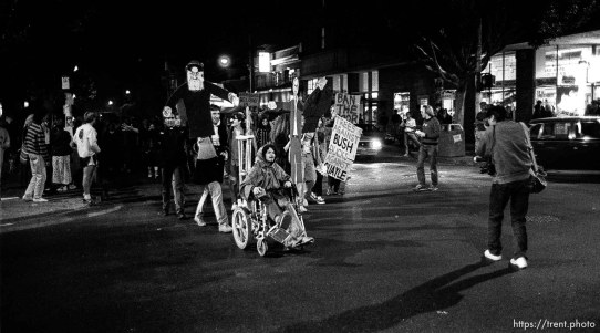 Anti- George Bush protest on Halloween night on Telegraph Avenue.