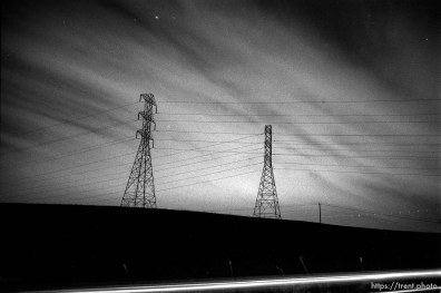 Powerlines along Dougherty Road at night.