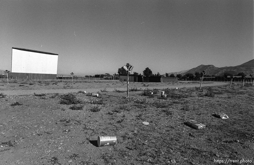 Trash and screen at Timp Drive-In theater.