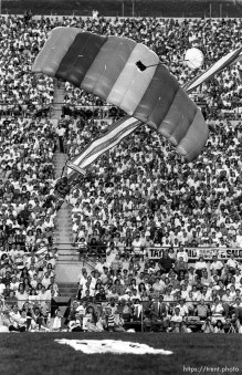 Skydiver landing at Stadium of Fire.