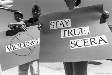 """Protest over serial film, """"Trader Tom,"""" that mothers said were too violent."""