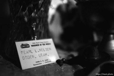 Pearl Nelson's Woodmen nametag at Nana's house.