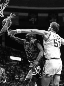 Michael Jordan at Jazz vs. Chicago basketball.