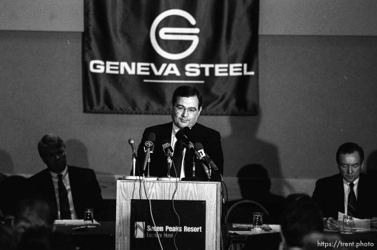 Joe Cannon (pres. of Geneva Steel) at Geneva Steel press conference announcing they would modernize the steel plant and institute environmental improvements.