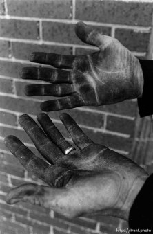 Sooty hands of a chimney sweep.