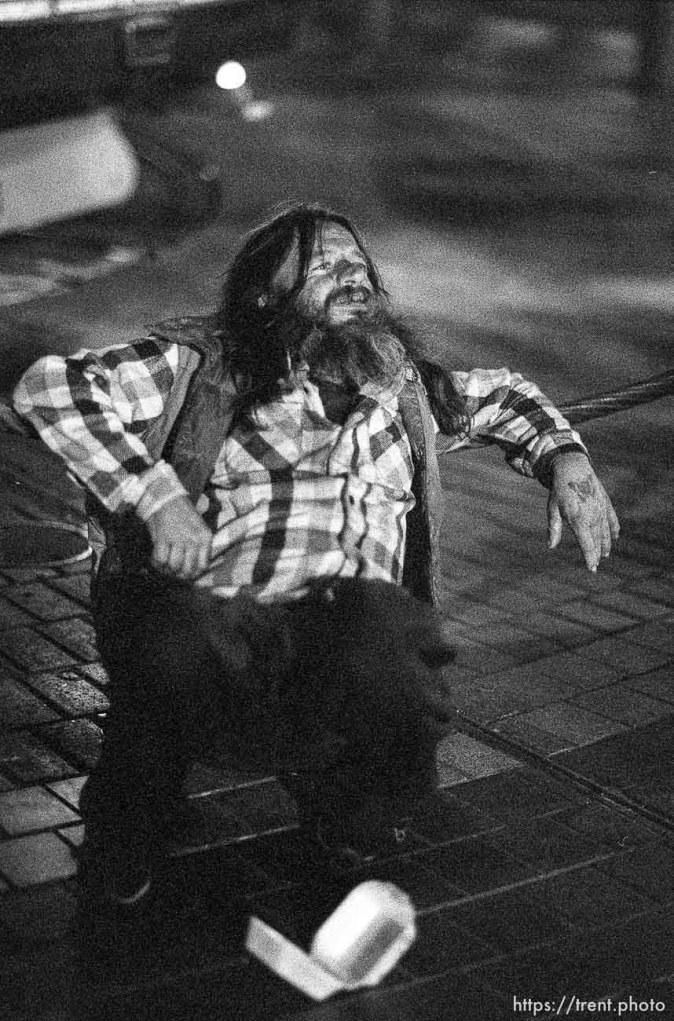 Drunk on Market Street at night.