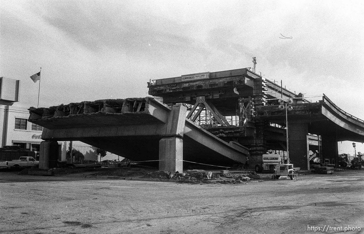 Ruins of the Nimitz Freeway, which collapsed in the 10/89 earthquake.