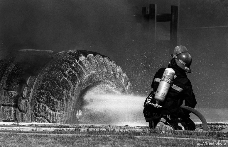 Fire in a playground tire.