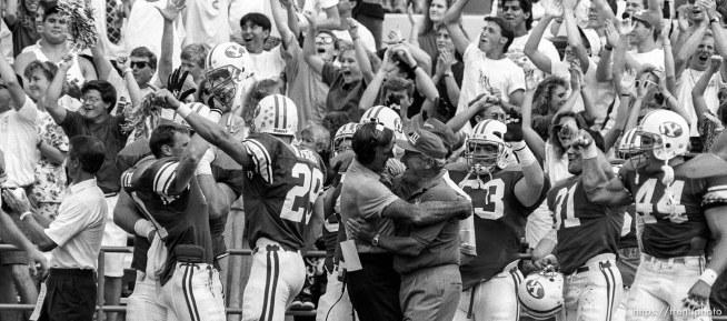 Celebration after BYU vs. Washington State football. Good Roger French, LaVell Edwards.