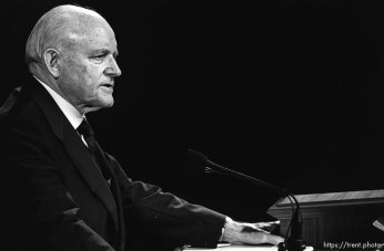 Howard W. Hunter at LDS General Conference.