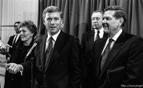 Vice President Dan Quayle. To the right is Orrin Hatch and Karl Snow.