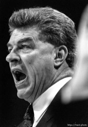 Detroit coach Chuck Daly at Jazz vs. Detroit Pistons.