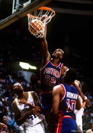 John Salley dunks over Thurl Bailey at Utah Jazz vs. Detroit Pistons