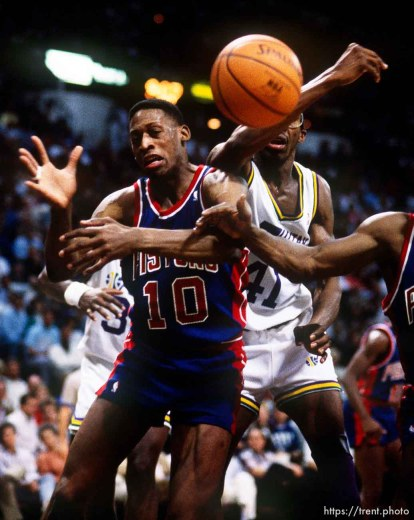 Dennis Rodman and Thurl Bailey at Utah Jazz vs. Detroit Pistons