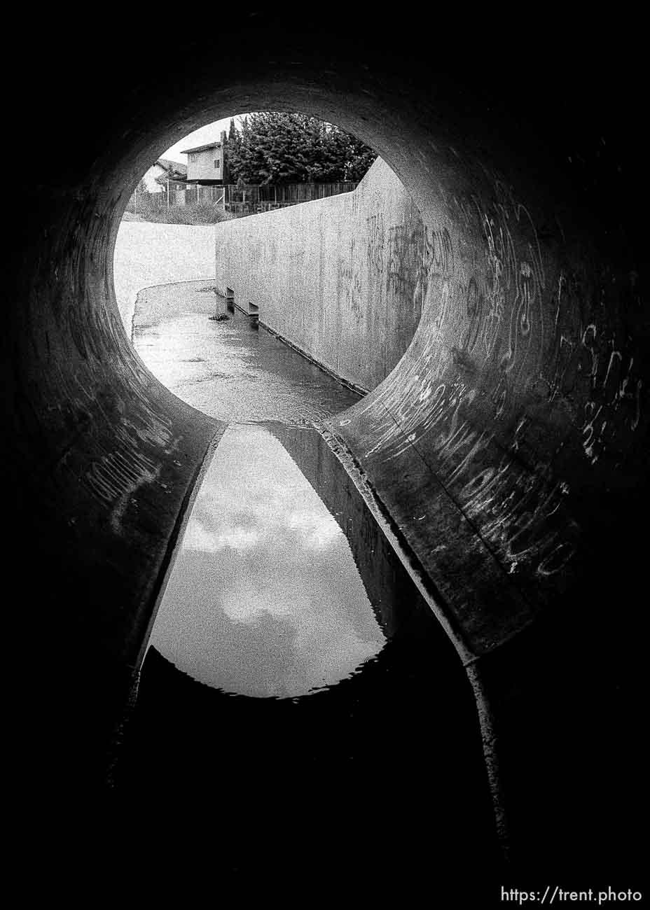 looking out in sewer pipe.