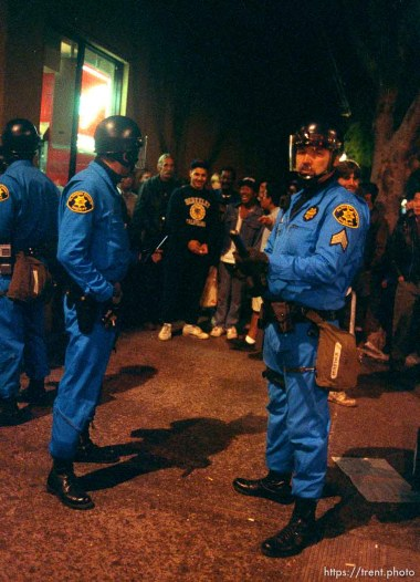 Police in riot gear during riots and protests.