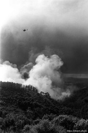 Helicopter and smoke during the Oakland Hills Fire.
