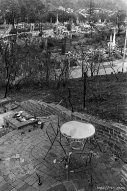 Patio and remains of burned homes after the Oakland Hills Fire.