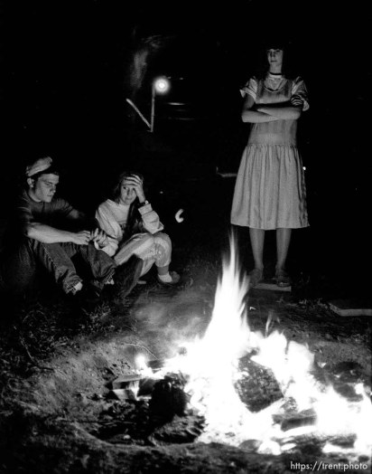 ?, Tausha Robinson, Betsy Godfrey sitting by fire
